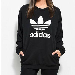 Adidas Trefoil Crew Neck Black White Sweatshirt